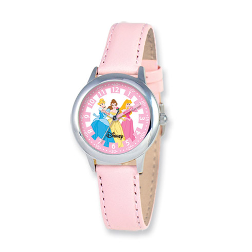 Disney Princess Kids Pink Leather Band Time Teacher Watch