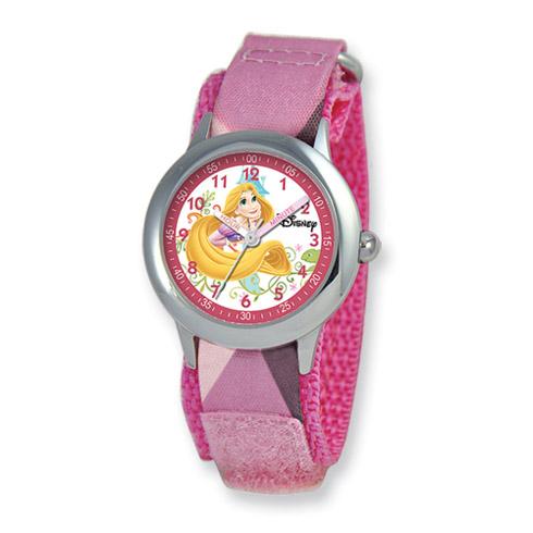 Disney Princess Kids Rapunzel Pink Camo Band Time Teacher Watch