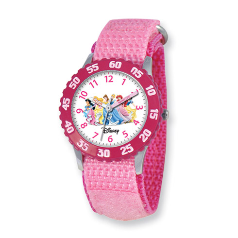 Disney Princess Kids Pink Velcro Band Time Teacher Watch