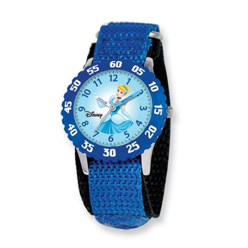 Disney Princess Kids Cinderella Blue Velcro Band Time Teacher Watch