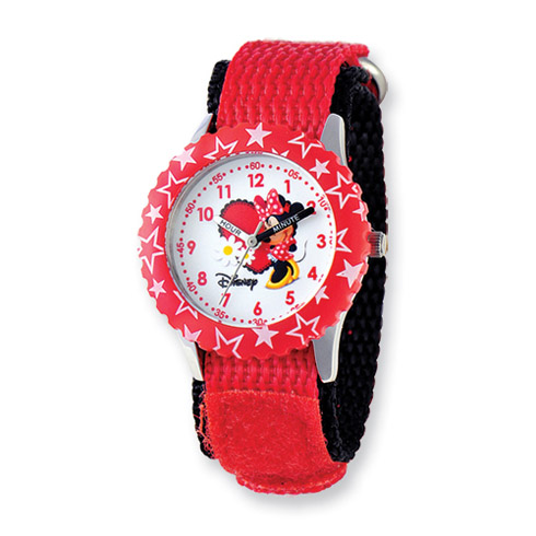 Disney Kids Minnie Mouse Red Velcro Band Time Teacher Watch
