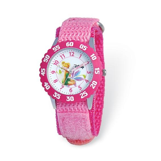 Disney Kids Tinker Bell Pink Velcro Band Time Teacher Watch