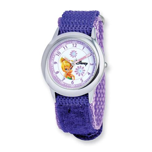 Disney Kids Tinker Bell Purple Velcro Band Time Teacher Watch