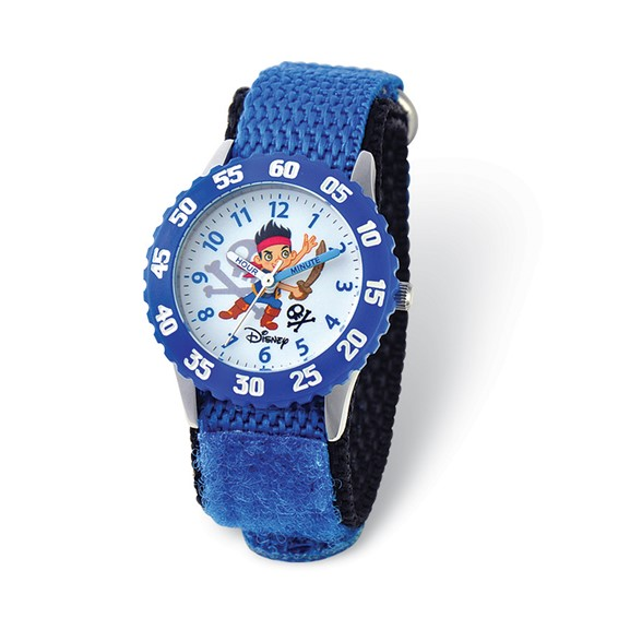 Disney Kids Jake Pirates Blue Velcro Band Time Teacher Watch