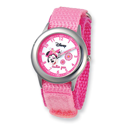 Disney Kids Minnie Mouse Pink Velcro Band Time Teacher Watch