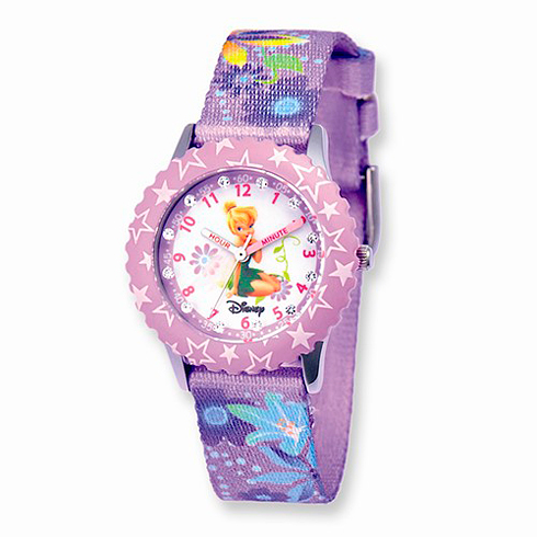 Disney Kids Tinker Bell Glitz Printed Band Time Teacher Watch
