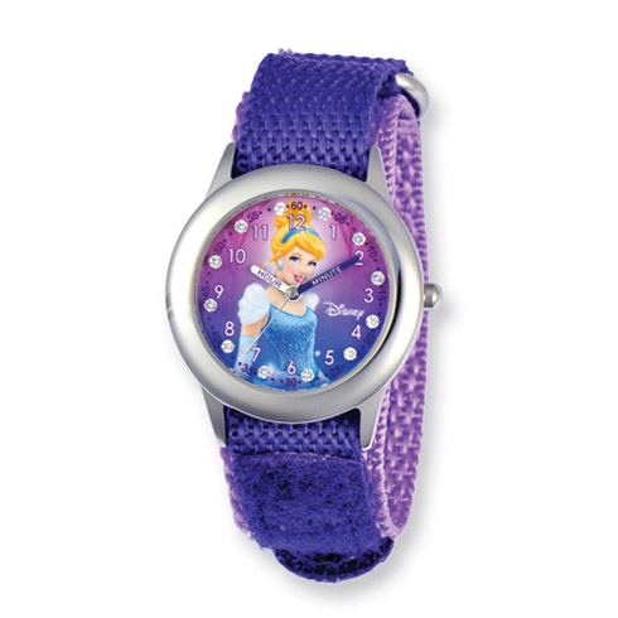 Disney Princess Cinderella Glitz Purple Velcro Time Teacher Watch