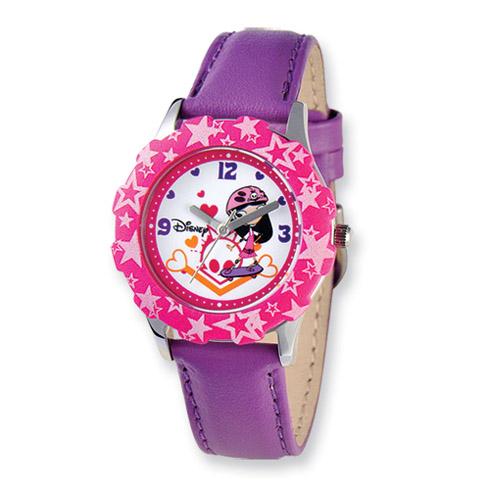 Disney Phineas Ferb Girls Purple Leather Band Tween Watch