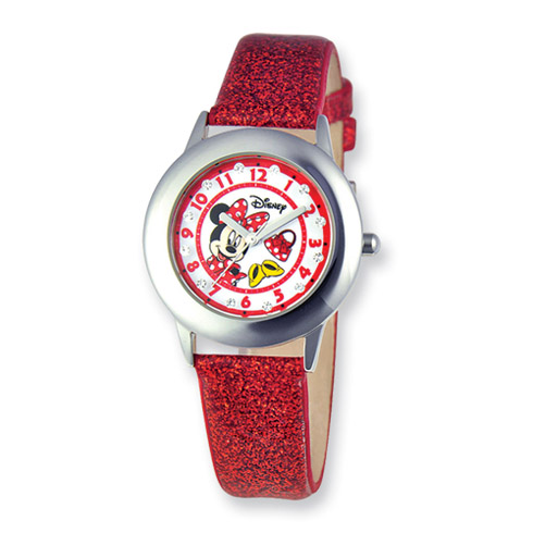 Disney Minnie Mouse Glitz Red Band Tween Collection Watch