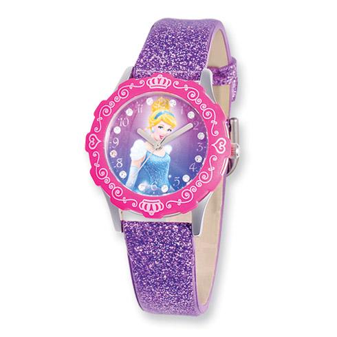 Disney Princess Cinderella Glitz Purple Band Tween Watch