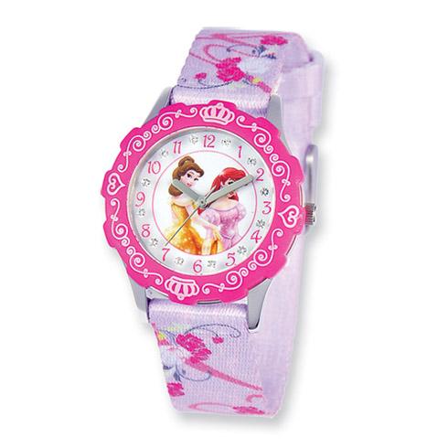 Disney Princess Belle Ariel Glitz Printed Band Tween Watch