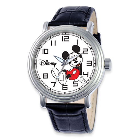 Large Black Leather Strap Sitting Mickey Mouse Watch