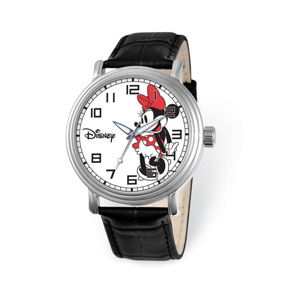 Large Black Leather Strap Minnie Mouse Watch