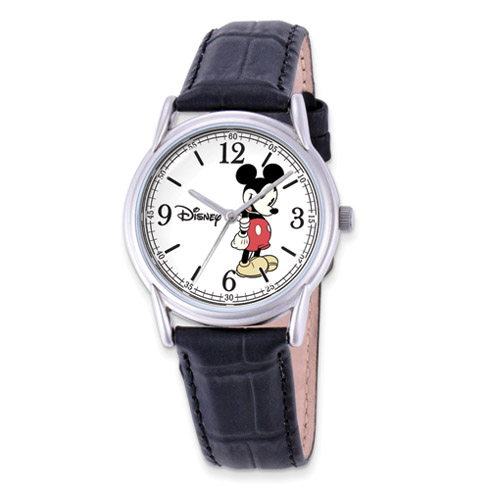 Black Leather Strap Mickey Mouse Watch with Round White Dial