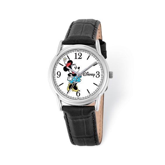 Black Leather Strap Minnie Mouse Watch