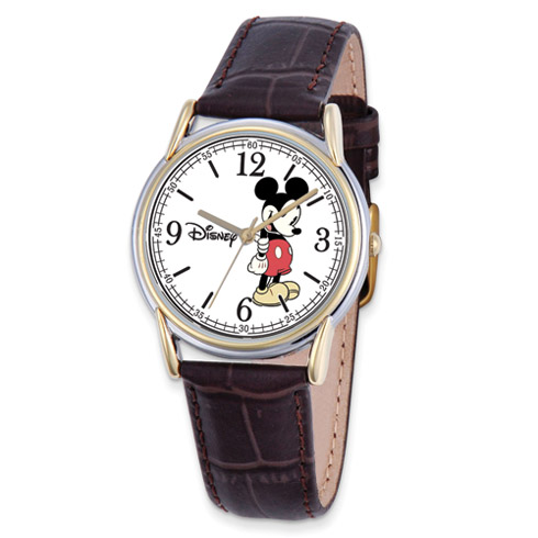 Brown Leather Strap Mickey Mouse Watch