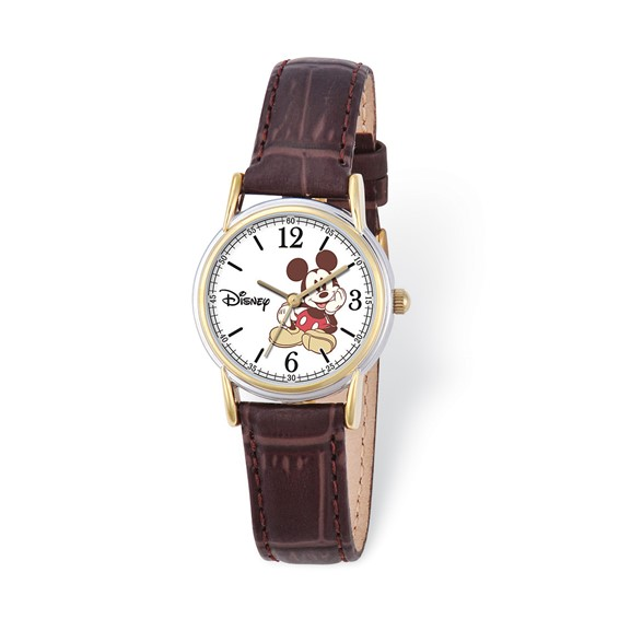 Smal Brown Leather Strap Mickey Mouse Watch