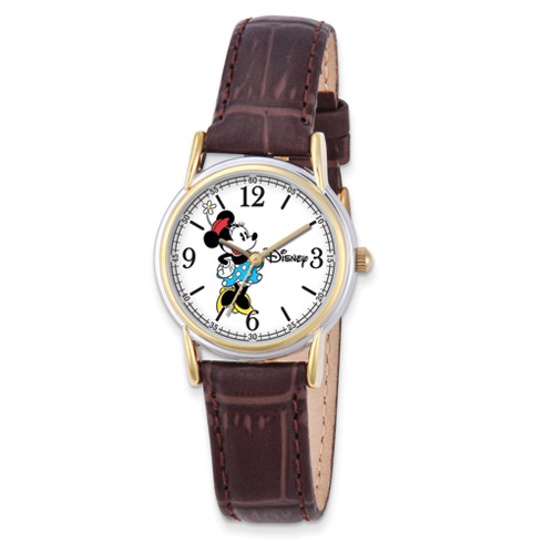Small Brown Leather Strap Minnie Mouse Watch