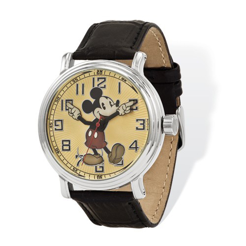 Black Leather Strap 41mm Mickey Mouse Watch with Moving Arms