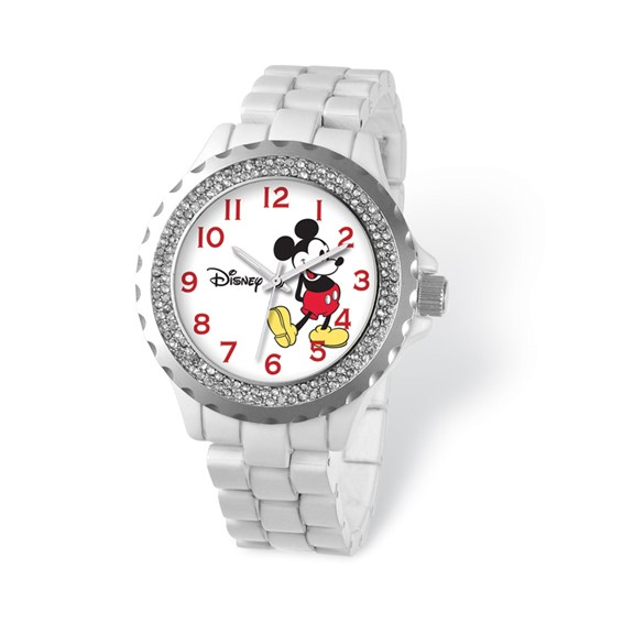 White Band Crystal Bezel Mickey Mouse Watch