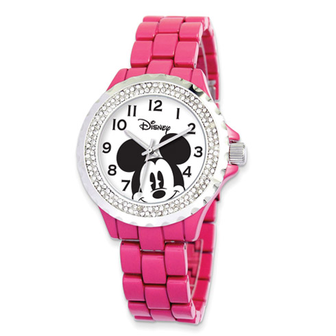 Pink Band Crystal Bezel Mickey Mouse Watch