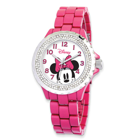 Pink Band Crystal Bezel Minnie Mouse Watch