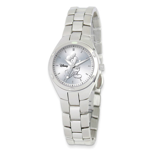 Stainless Steel Round Silver Dial Mickey Mouse Watch