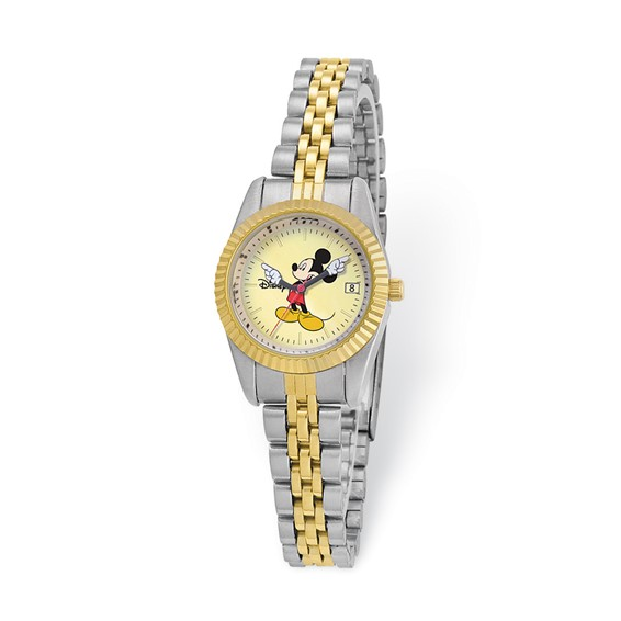 Two-tone Gold Dial Moving Arms Mickey Mouse Watch
