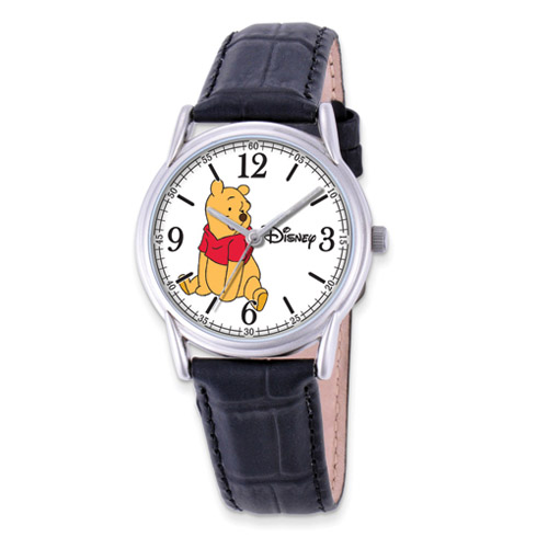 Black Leather Strap Winnie the Pooh Watch