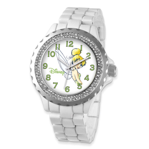 White Band Crystal Bezel Tinker Bell Watch