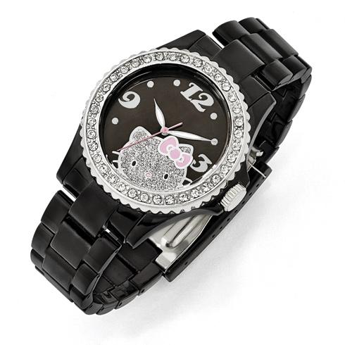 Hello Kitty Black Acrylic Watch with Crystal Bezel