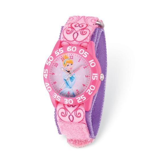 Cinderella Pink and Purple Velcro Acrylic Time Teacher Watch