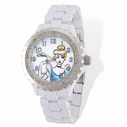 Cinderella White Enamel Bracelet Crystal Watch