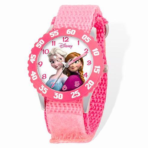 Frozen Pink Velcro White Dial Time Teacher Watch
