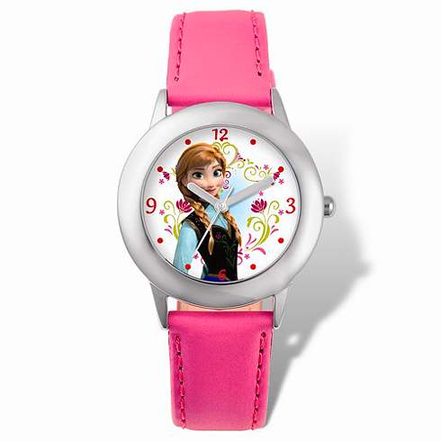Frozen Anna Pink Leather Strap Watch