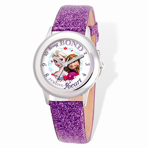Frozen Purple Sparkle Leather Strap Watch