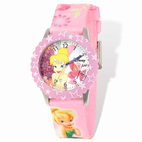 Tinker Bell Pink Woven Band Time Teacher Watch