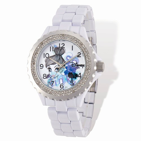 Tinker Bell White Enamel Bracelet Crystal Watch