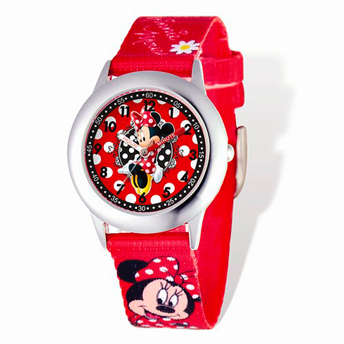 Minnie Mouse Woven Band Silver-Tone Time Teacher Watch