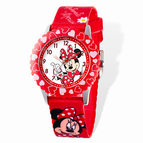 Minnie Mouse Woven Band Acrylic Time Teacher Watch