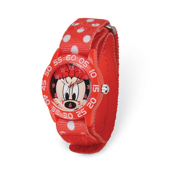 Minnie Mouse Face Red Dot Velcro Time Teacher Watch