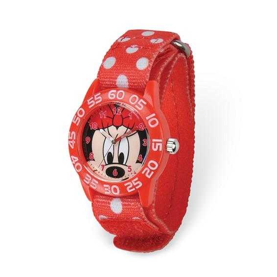 Minnie Mouse Face Red Dot Velcro Time Teacher Watch