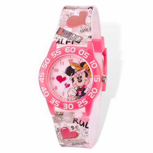 Minnie Mouse Plastic Band Acrylic Time Teacher Watch