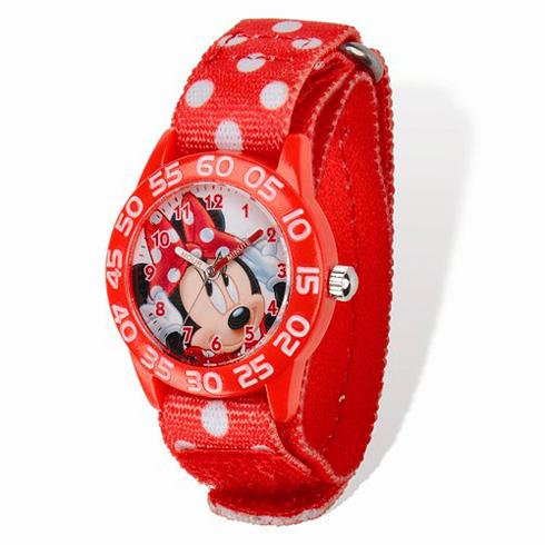 Minnie Mouse Red Polka Dot Velcro Time Teacher Watch
