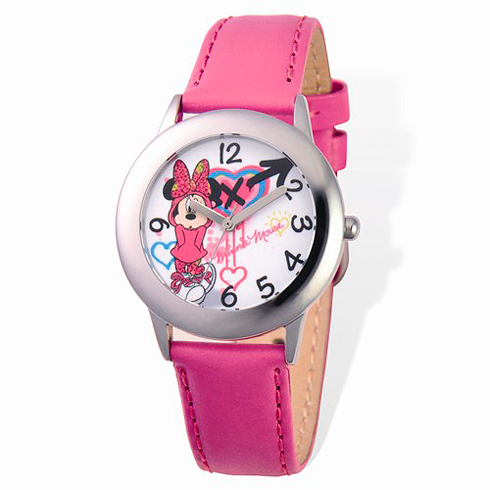 Minnie Mouse Pink Leather Strap Watch