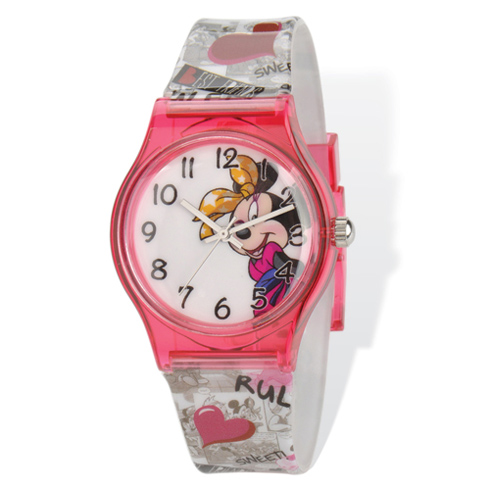 Minnie Mouse Pink Acrylic Case with Printed Band Watch