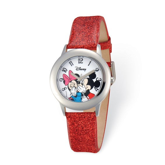 Red Leather Mickey and Minnie Mouse Watch