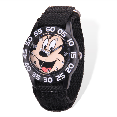 Black Mickey Mouse Time Teacher Watch with Acrylic Case