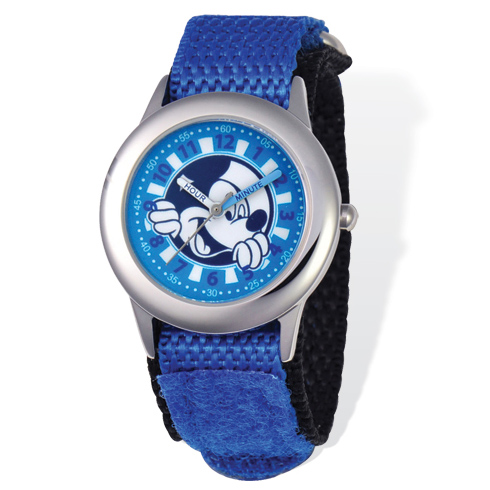 Mickey Mouse Time Teacher Watch with Blue Velcro Band
