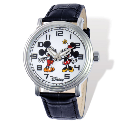 Black Leather Mickey and Minnie Mouse Watch